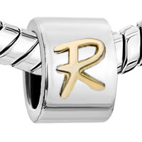 European Beads - ROUND LETTER R TWO TONE PLATED BEADS CHARMS BRACELETS alternate image 1.