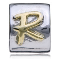 European Beads - ROUND LETTER R TWO TONE PLATED BEADS CHARMS BRACELETS alternate image 2.
