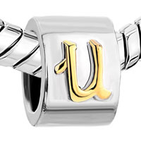 Charms Beads - LETTER INITIAL U ALPHABET TWO TONE PLATED BEADS CHARMS BRACELETS FIT ALL BRANDS alternate image 1.