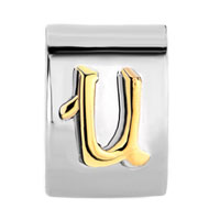 Charms Beads - LETTER INITIAL U ALPHABET TWO TONE PLATED BEADS CHARMS BRACELETS FIT ALL BRANDS alternate image 2.