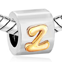 Charms Beads - LETTER BRACELET CHARMS INITIAL Z PATTERN ALPHABET EUROPEAN BEAD alternate image 1.