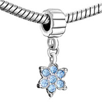 Charms Beads - BLUE ELEMENT CRYSTAL FLOWER FANCY CHARM BRACELET SPACERS DANGLE alternate image 1.