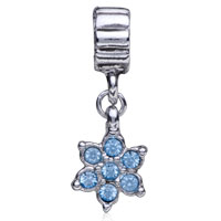 Charms Beads - BLUE ELEMENT CRYSTAL FLOWER FANCY CHARM BRACELET SPACERS DANGLE alternate image 2.
