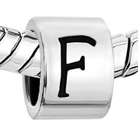 Charms Beads - SILVER PLATED LETTER BRACELET CHARM INITIAL F ALPHABET EUROPEAN BEAD alternate image 1.