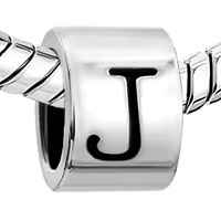 European Beads - CYLINDRICAL SHAPED LETTER J SILVER PLATED BEADS CHARMS BRACELETS alternate image 1.