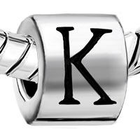Charms Beads - CYLINDRICAL SHAPED LETTER BRACELET CHARM INITIAL K CHARM ALPHABET BEAD alternate image 1.