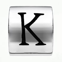 Charms Beads - CYLINDRICAL SHAPED LETTER BRACELET CHARM INITIAL K CHARM ALPHABET BEAD alternate image 2.