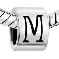 European Beads - CYLINDRICAL SHAPED LETTER M SILVER PLATED BEADS CHARMS BRACELETS alternate image 1.