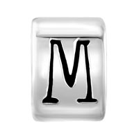 European Beads - CYLINDRICAL SHAPED LETTER M SILVER PLATED BEADS CHARMS BRACELETS alternate image 2.