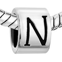 Charms Beads - CYLINDRICAL SHAPED LETTER BRACELET CHARMS INITIAL N ALPHABET BEADS alternate image 1.
