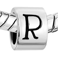 Charms Beads - CYLINDRICAL LETTER BRACELET CHARMS INITIAL R ALPHABET EUROPEAN BEAD alternate image 1.