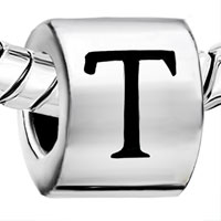 Charms Beads - CYLINDRICAL LETTER BRACELET CHARMS INITIAL T ALPHABET EUROPEAN BEAD alternate image 1.