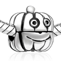 Charms Beads - SILVER CARTOON JACKOLANTERN HALLOWEEN PUMPKIN GUY CLIP LOCK STOPPER alternate image 1.