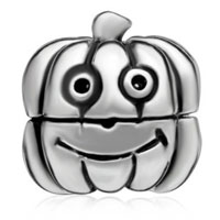Charms Beads - SILVER CARTOON JACKOLANTERN HALLOWEEN PUMPKIN GUY CLIP LOCK STOPPER alternate image 2.