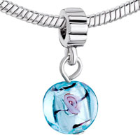 Charms Beads - PINK ROSE IN TRANSLUCENT BLUE MURANO GLASS CHARM BRACELET DANGLE alternate image 1.