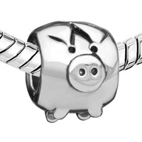 - SILVER TONE CUTE PIG alternate image 2.