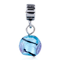 Charms Beads - SILVER FOIL BLUE DANGLE EUROPEAN BEAD CHARMS BRACELETS MURANO GLASS alternate image 2.