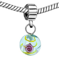 - GREEN MURANO GLASS FLOWER DANGLE alternate image 2.