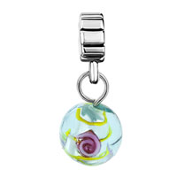 - GREEN MURANO GLASS FLOWER DANGLE alternate image 1.