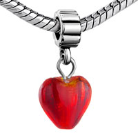 Charms Beads - SILVER MURANO GLASS RED HEART LOVER CHARM BRACELET SPACER DANGLE alternate image 1.