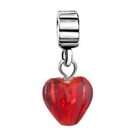 Charms Beads - SILVER MURANO GLASS RED HEART LOVER CHARM BRACELET SPACER DANGLE alternate image 2.