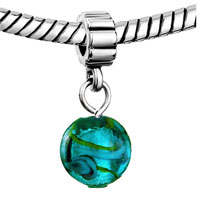 Charms Beads - SILVER TURQUOISE SEA LIFE CHARM SPACERS DANGLE MURANO GLASS BEADS alternate image 1.