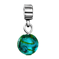 DPC0769: SILVER TURQUOISE SEA LIFE CHARM SPACERS DANGLE MURANO GLASS BEADS alternate image 2.