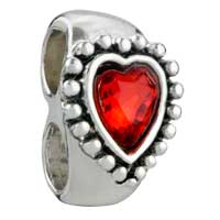 Charms Beads - GARNET HEART CRYSTAL FIT ALL BRANDS BEADS CHARMS BRACELETS alternate image 1.
