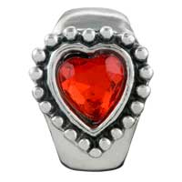 Charms Beads - GARNET HEART CRYSTAL FIT ALL BRANDS BEADS CHARMS BRACELETS alternate image 2.