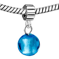 Charms Beads - SILVER PURE BLUE BALL MURANO GLASS CHARM BRACELET SPACERS DANGLE alternate image 1.