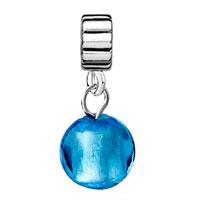 Charms Beads - SILVER PURE BLUE BALL MURANO GLASS CHARM BRACELET SPACERS DANGLE alternate image 2.