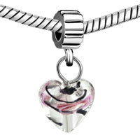European Beads - FOIL PINK ROSE LOVE HEART DANGLE EUROPEAN BEADS ALL BRANDS CHARMS BRACELETS alternate image 1.