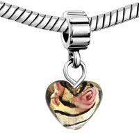 Murano Glass Jewelry - AMBER HEART ROSE FLOWER FACETED CHARM BRACELET SPACERS DANGLE alternate image 1.