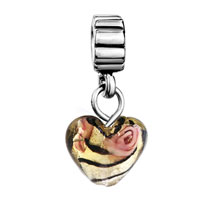 Murano Glass Jewelry - AMBER HEART ROSE FLOWER FACETED CHARM BRACELET SPACERS DANGLE alternate image 2.
