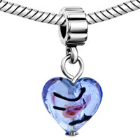 Charms Beads - SILVER TURQUOISE HEART CHARM SPACERS DANGLE MURANO GLASS BEADS alternate image 1.