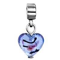 Charms Beads - SILVER TURQUOISE HEART CHARM SPACERS DANGLE MURANO GLASS BEADS alternate image 2.