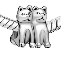 European Beads - TWIN CAT FIT ALL BRANDS SILVER PLATED BEADS CHARMS BRACELETS alternate image 1.