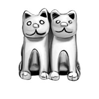 European Beads - TWIN CAT FIT ALL BRANDS SILVER PLATED BEADS CHARMS BRACELETS alternate image 2.