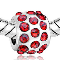 European Beads - GARNET RED CRYSTAL DIAMOND ACCENT ALL BRAND SILVER PLATED BEADS CHARMS BRACELETS alternate image 1.