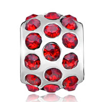 European Beads - GARNET RED CRYSTAL DIAMOND ACCENT ALL BRAND SILVER PLATED BEADS CHARMS BRACELETS alternate image 2.