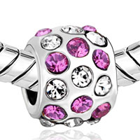 Charms Beads - SILVER PINK RHINESTONE EUROPEAN INFANT CHARM BEAD CHARMS BRACELETS alternate image 1.