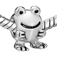European Beads - BIG EYES FROG SHAPE SILVER PLATED BEADS CHARMS BRACELETS alternate image 1.