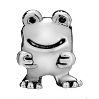 European Beads - BIG EYES FROG SHAPE SILVER PLATED BEADS CHARMS BRACELETS alternate image 2.