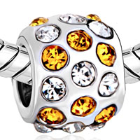Charms Beads - SILVER PLATED ORANGE CLEAR RHINESTONE EUROPEAN BEAD CHARM BRACELETS alternate image 1.