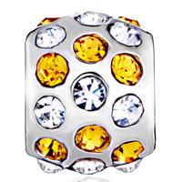 Charms Beads - SILVER PLATED ORANGE CLEAR RHINESTONE EUROPEAN BEAD CHARM BRACELETS alternate image 2.