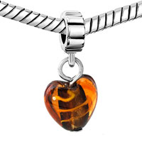 Charms Beads - AMBER HEART LAMPWORK FACETED MURANO GLASS CHARM BRACELET SPACER DANGLE alternate image 1.