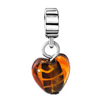Charms Beads - AMBER HEART LAMPWORK FACETED MURANO GLASS CHARM BRACELET SPACER DANGLE alternate image 2.