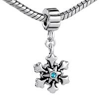 Charms Beads - BLUE SWAROVSKI CRYSTAL CHRISTMAS CHARM BRACELET SNOWFLAKE DANGLE alternate image 1.