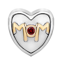 Charms Beads - MOTHER DAUGHTER CHARM MOM RED CRYSTAL HEART CHARM BRACELET BEADS GIFT alternate image 2.