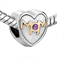 Charms Beads - MOTHER DAUGHTER CHARMS MOM PURPLE CRYSTAL HEART CHARM BEADS GIFT alternate image 1.